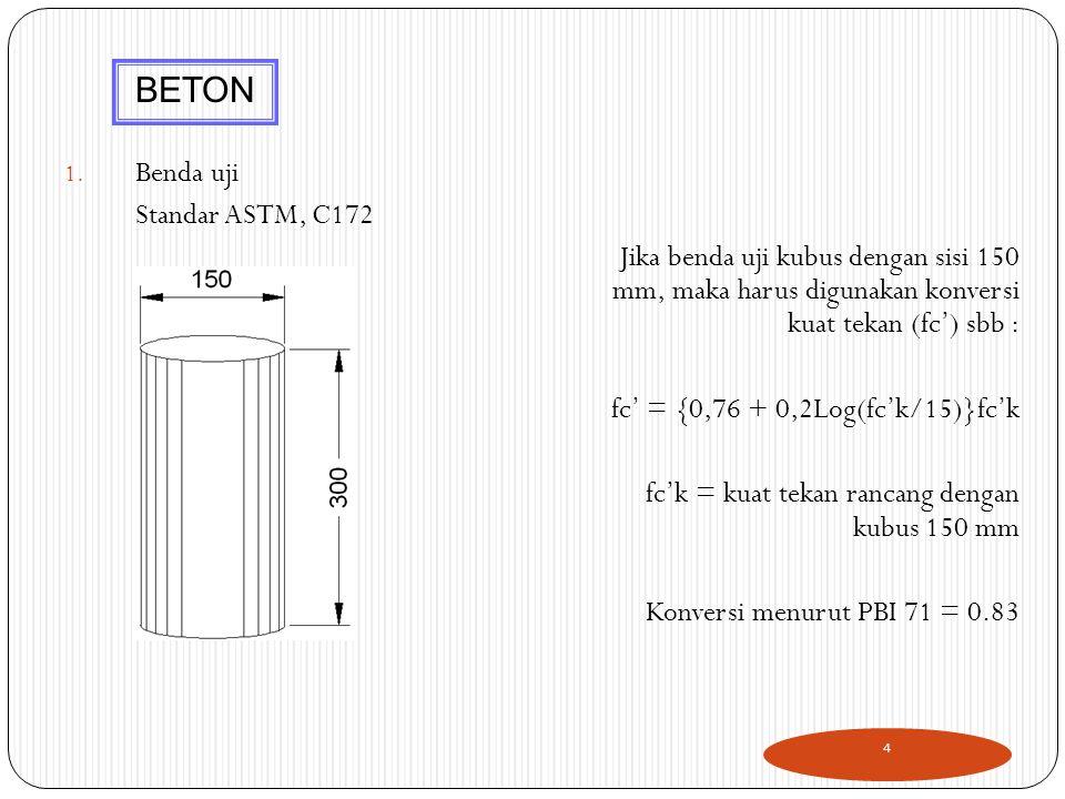 1. Benda uji Standar ASTM, C172 Jika benda uji kubus dengan sisi 150 mm, maka harus digunakan konversi kuat tekan (fc') sbb : fc' = {0,76 + 0,2Log(fc'