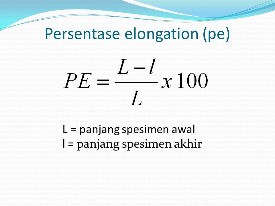 Persentase elongation (pe) L = panjang spesimen awal l = panjang spesimen akhir