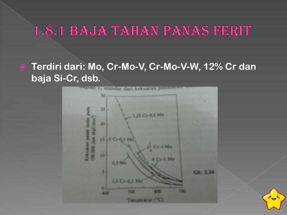  Terdiri dari: Mo, Cr-Mo-V, Cr-Mo-V-W, 12% Cr dan baja Si-Cr, dsb.