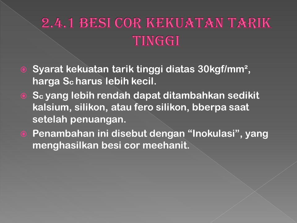  Syarat kekuatan tarik tinggi diatas 30kgf/mm², harga S c harus lebih kecil.  S c yang lebih rendah dapat ditambahkan sedikit kalsium, silikon, atau