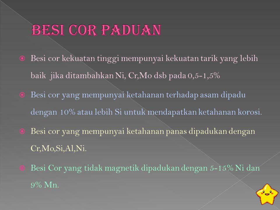  Besi cor kekuatan tinggi mempunyai kekuatan tarik yang lebih baik jika ditambahkan Ni, Cr,Mo dsb pada 0,5-1,5%  Besi cor yang mempunyai ketahanan t