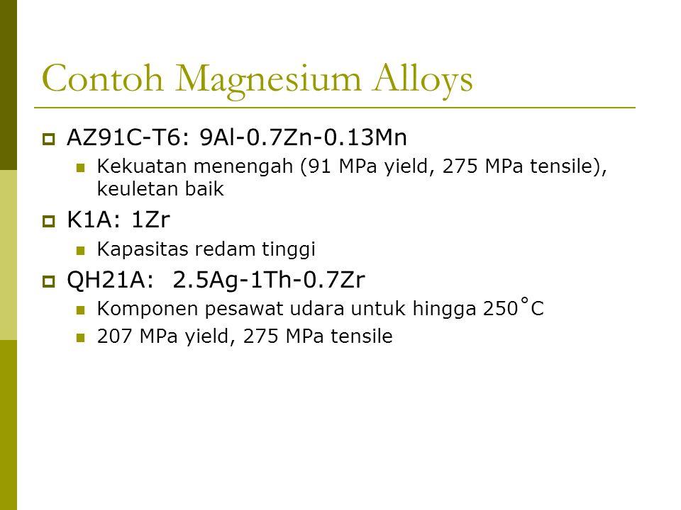 Contoh Magnesium Alloys  AZ91C-T6: 9Al-0.7Zn-0.13Mn Kekuatan menengah (91 MPa yield, 275 MPa tensile), keuletan baik  K1A: 1Zr Kapasitas redam tingg