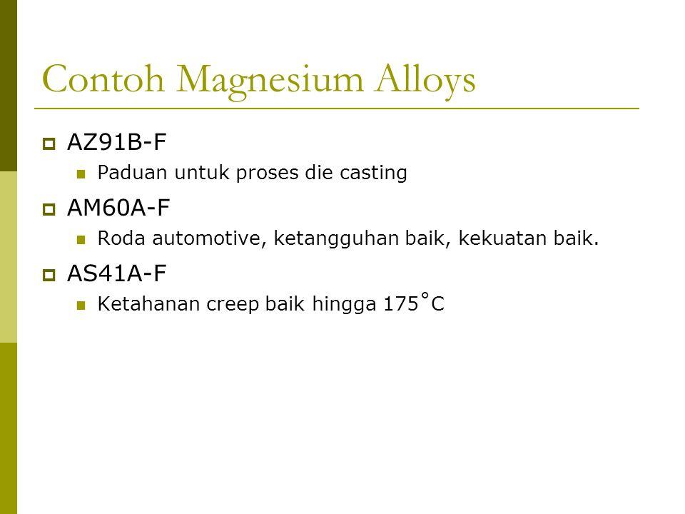 Contoh Magnesium Alloys  AZ91B-F Paduan untuk proses die casting  AM60A-F Roda automotive, ketangguhan baik, kekuatan baik.  AS41A-F Ketahanan cree