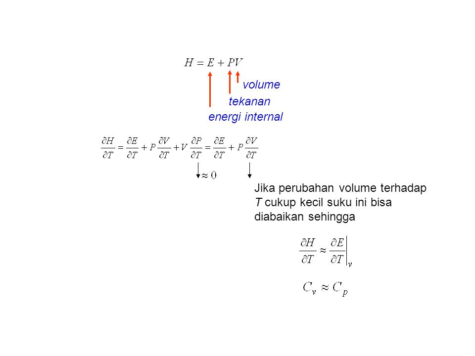 volume tekanan energi internal Jika perubahan volume terhadap T cukup kecil suku ini bisa diabaikan sehingga