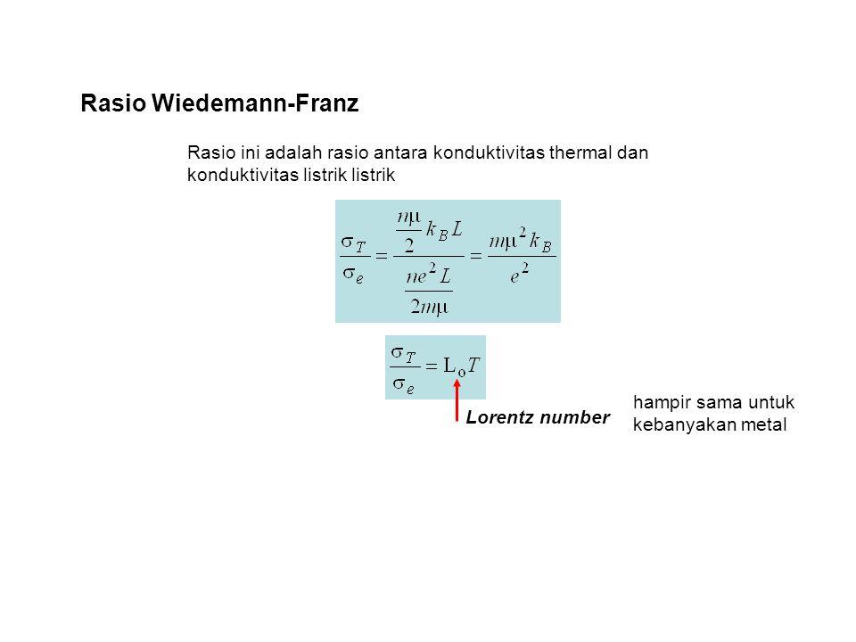 Rasio Wiedemann-Franz Rasio ini adalah rasio antara konduktivitas thermal dan konduktivitas listrik listrik Lorentz number hampir sama untuk kebanyakan metal