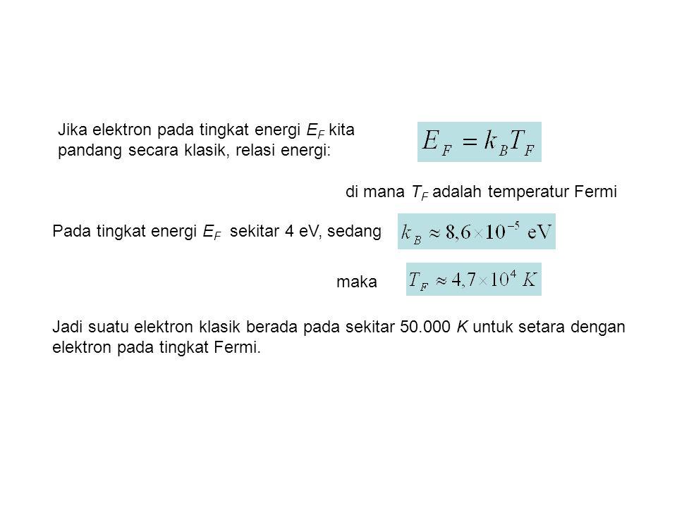 Jika elektron pada tingkat energi E F kita pandang secara klasik, relasi energi: Pada tingkat energi E F sekitar 4 eV, sedang di mana T F adalah temperatur Fermi maka Jadi suatu elektron klasik berada pada sekitar 50.000 K untuk setara dengan elektron pada tingkat Fermi.