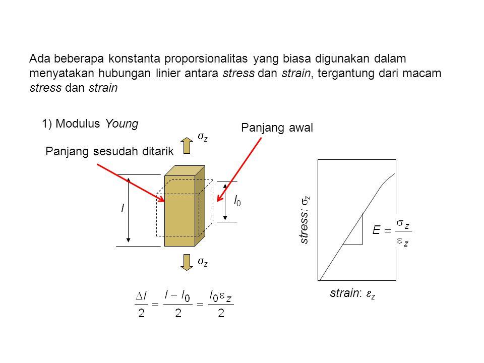 Ada beberapa konstanta proporsionalitas yang biasa digunakan dalam menyatakan hubungan linier antara stress dan strain, tergantung dari macam stress dan strain 1) Modulus Young l l0l0 strain:  z stress:  z zz zz Panjang awal Panjang sesudah ditarik