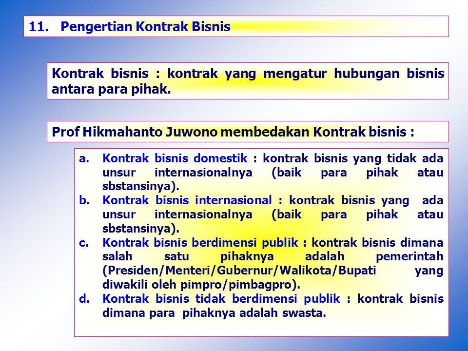 11.Jenis Kontrak Bisnis Pemerintah (Publik) : a.Kontrak Pengadaan Barang/Jasa : 1.Kontrak pengadaan barang.