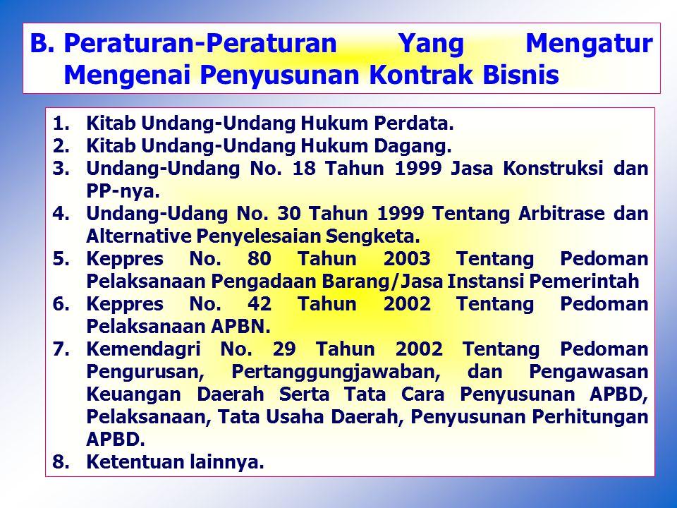 II.Teknis Penyusunan Kontrak Bisnis Pemerintah Kontrak Pengadaan Barang/Jasa Pemerintah 1.Proses Penyusunan Kontrak Pengadaan Barang/Jasa Pemerintah II Penyusunan Draft Kontrak menjadi bagian dari dokumen lelang.