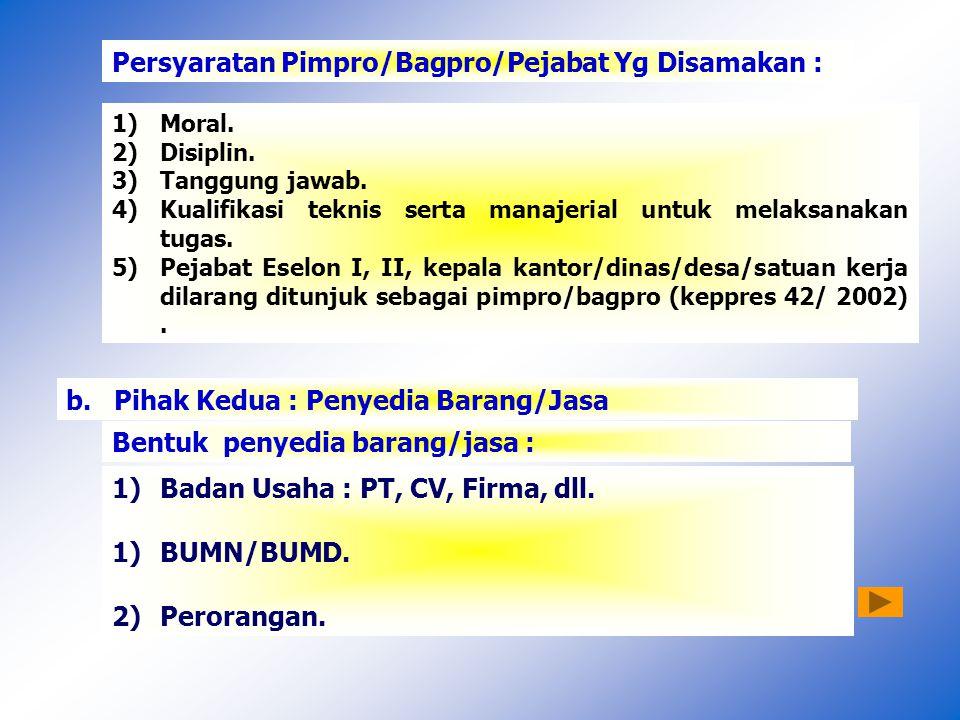 Persyaratan Pimpro/Bagpro/Pejabat Yg Disamakan : 1)Moral.