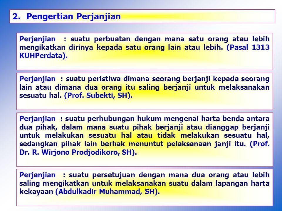 3.Pengertian Kontrak : Kontrak : Perjanjian atau persetujuan yang tertulis (Prof Subekti, SH).