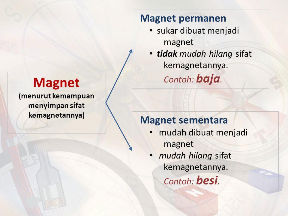 Magnet (menurut kemampuan menyimpan sifat kemagnetannya) Magnet permanen sukar dibuat menjadi magnet tidak mudah hilang sifat kemagnetannya. Contoh: b