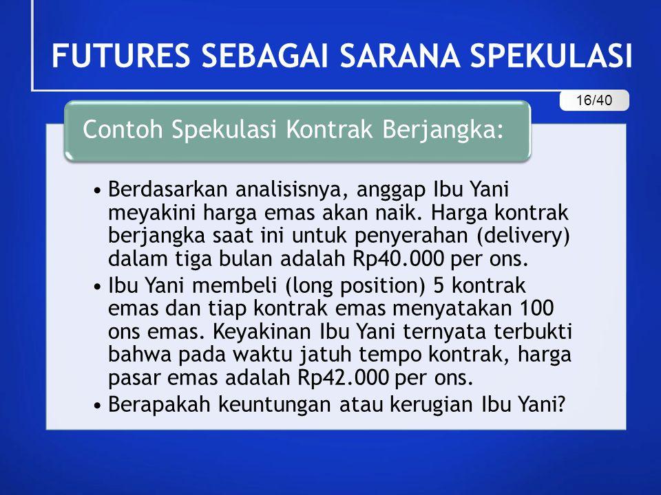 Berdasarkan analisisnya, anggap Ibu Yani meyakini harga emas akan naik. Harga kontrak berjangka saat ini untuk penyerahan (delivery) dalam tiga bulan