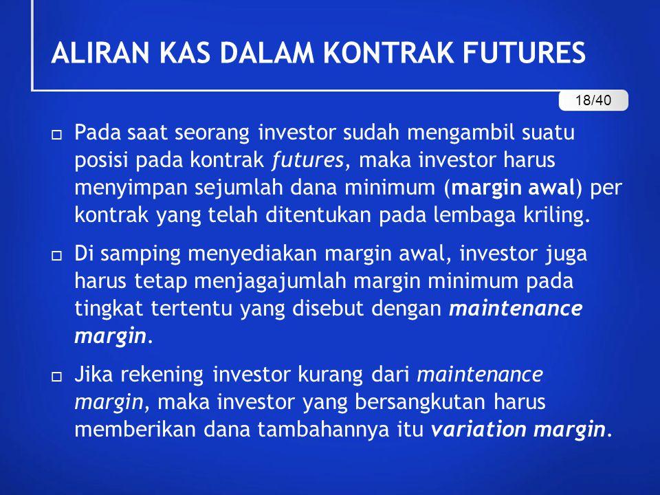 ALIRAN KAS DALAM KONTRAK FUTURES  Pada saat seorang investor sudah mengambil suatu posisi pada kontrak futures, maka investor harus menyimpan sejumla