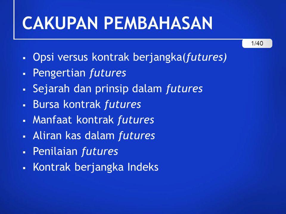 CAKUPAN PEMBAHASAN  Opsi versus kontrak berjangka(futures)  Pengertian futures  Sejarah dan prinsip dalam futures  Bursa kontrak futures  Manfaat