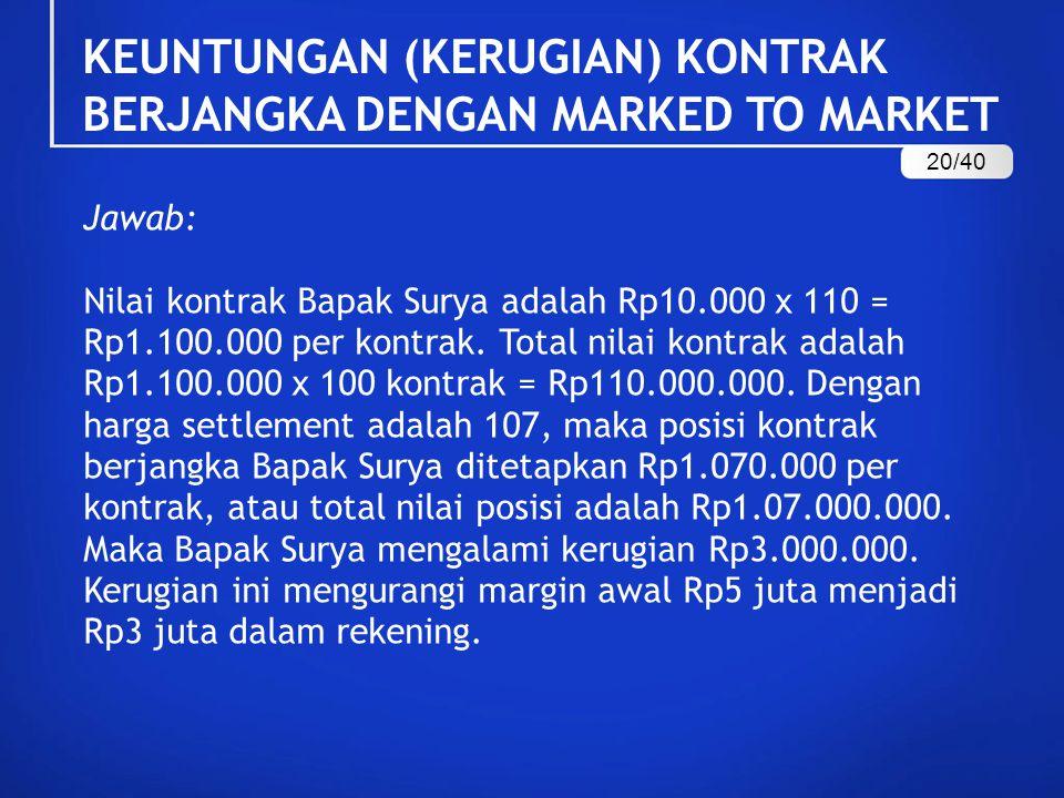 Jawab: Nilai kontrak Bapak Surya adalah Rp10.000 x 110 = Rp1.100.000 per kontrak. Total nilai kontrak adalah Rp1.100.000 x 100 kontrak = Rp110.000.000