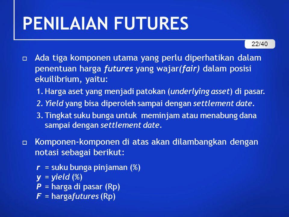 PENILAIAN FUTURES  Ada tiga komponen utama yang perlu diperhatikan dalam penentuan harga futures yang wajar(fair) dalam posisi ekuilibrium, yaitu: 1.