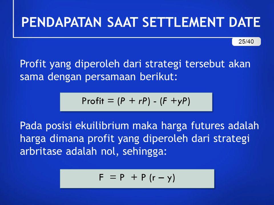 PENDAPATAN SAAT SETTLEMENT DATE Profit yang diperoleh dari strategi tersebut akan sama dengan persamaan berikut: Profit = (P + rP) - (F +yP) Pada posi