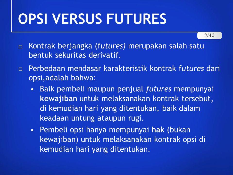 OPSI VERSUS FUTURES  Kontrak berjangka (futures) merupakan salah satu bentuk sekuritas derivatif.  Perbedaan mendasar karakteristik kontrak futures