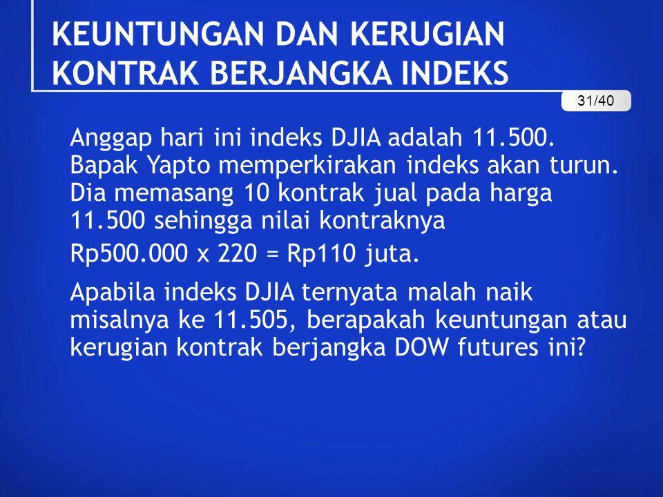 KEUNTUNGAN DAN KERUGIAN KONTRAK BERJANGKA INDEKS Anggap hari ini indeks DJIA adalah 11.500. Bapak Yapto memperkirakan indeks akan turun. Dia memasang