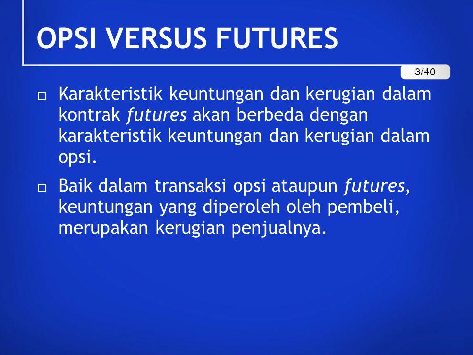 OPSI VERSUS FUTURES  Karakteristik keuntungan dan kerugian dalam kontrak futures akan berbeda dengan karakteristik keuntungan dan kerugian dalam opsi