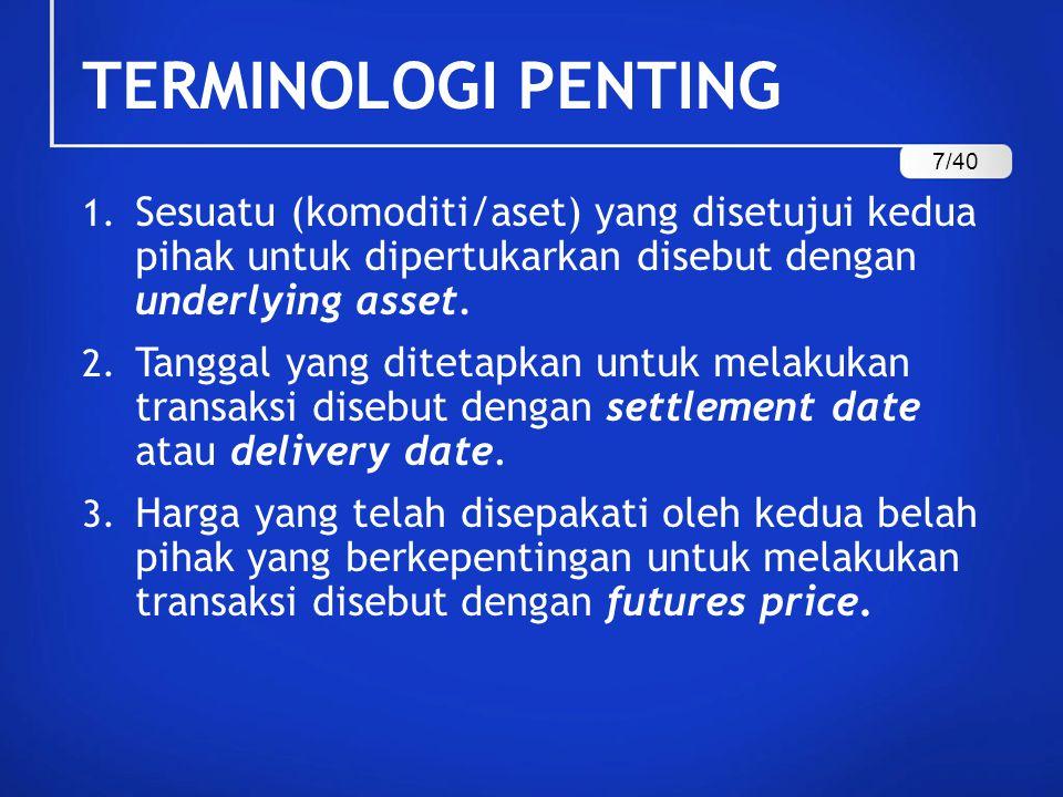 TERMINOLOGI PENTING 1. Sesuatu (komoditi/aset) yang disetujui kedua pihak untuk dipertukarkan disebut dengan underlying asset. 2. Tanggal yang ditetap