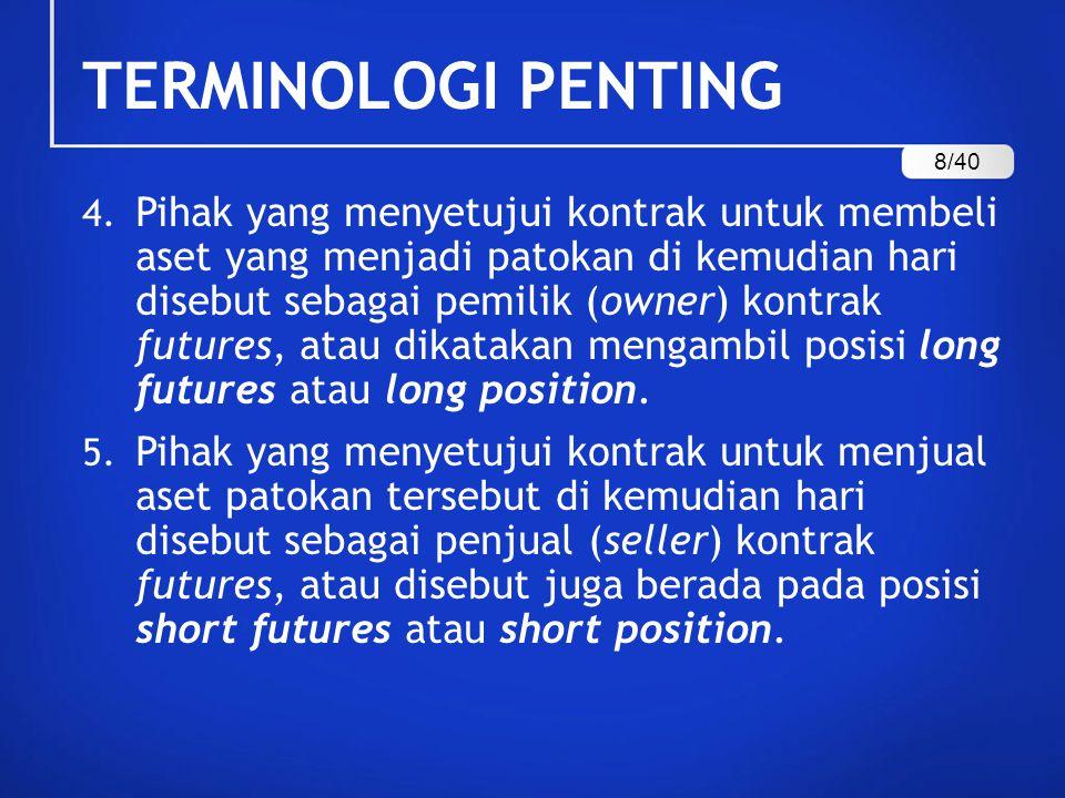TERMINOLOGI PENTING 4. Pihak yang menyetujui kontrak untuk membeli aset yang menjadi patokan di kemudian hari disebut sebagai pemilik (owner) kontrak