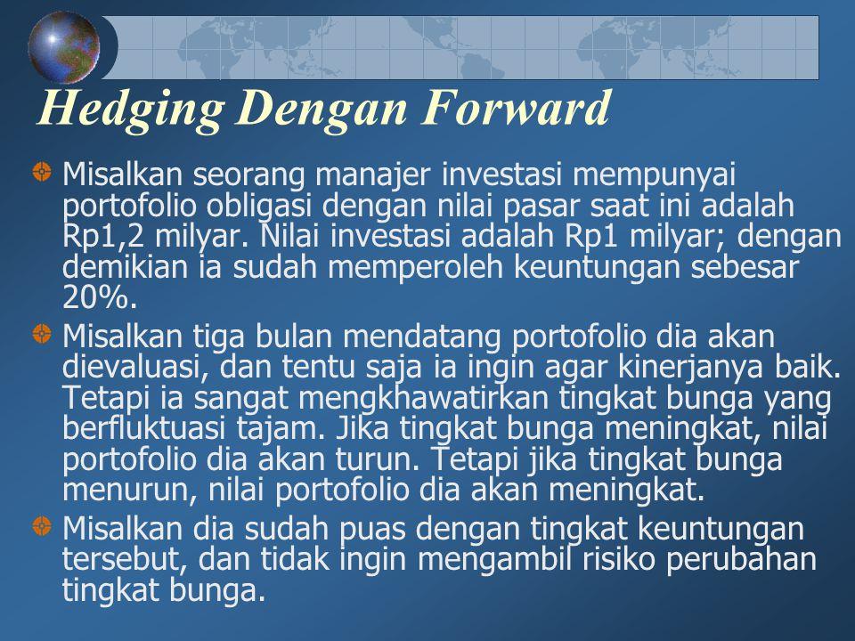Hedging Dengan Forward Misalkan seorang manajer investasi mempunyai portofolio obligasi dengan nilai pasar saat ini adalah Rp1,2 milyar. Nilai investa