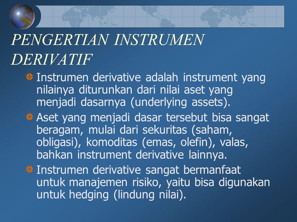 PENGERTIAN INSTRUMEN DERIVATIF Instrumen derivative adalah instrument yang nilainya diturunkan dari nilai aset yang menjadi dasarnya (underlying asset