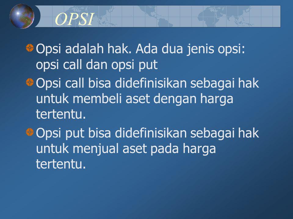 OPSI Opsi adalah hak. Ada dua jenis opsi: opsi call dan opsi put Opsi call bisa didefinisikan sebagai hak untuk membeli aset dengan harga tertentu. Op