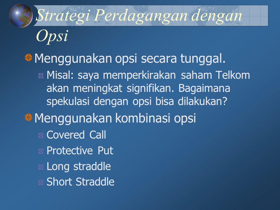 Strategi Perdagangan dengan Opsi Menggunakan opsi secara tunggal. Misal: saya memperkirakan saham Telkom akan meningkat signifikan. Bagaimana spekulas