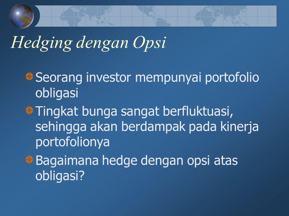 Hedging dengan Opsi Seorang investor mempunyai portofolio obligasi Tingkat bunga sangat berfluktuasi, sehingga akan berdampak pada kinerja portofolion