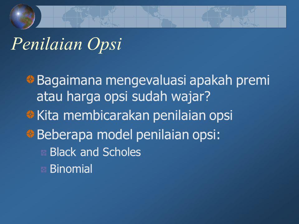 Penilaian Opsi Bagaimana mengevaluasi apakah premi atau harga opsi sudah wajar? Kita membicarakan penilaian opsi Beberapa model penilaian opsi: Black