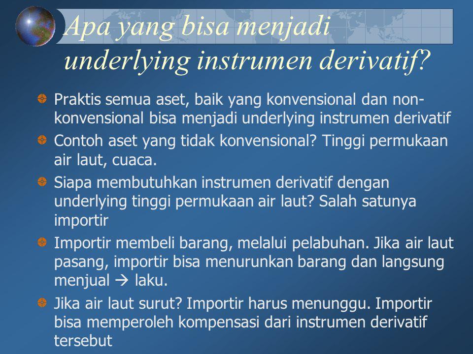 Apa yang bisa menjadi underlying instrumen derivatif? Praktis semua aset, baik yang konvensional dan non- konvensional bisa menjadi underlying instrum