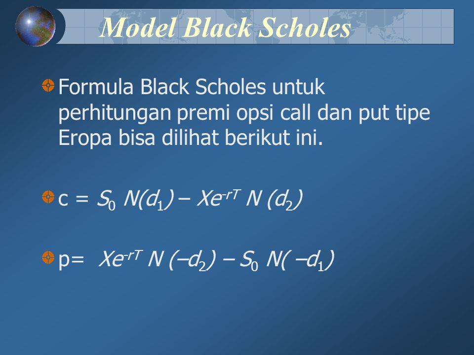 Model Black Scholes Formula Black Scholes untuk perhitungan premi opsi call dan put tipe Eropa bisa dilihat berikut ini. c = S 0 N(d 1 ) – Xe -rT N (d