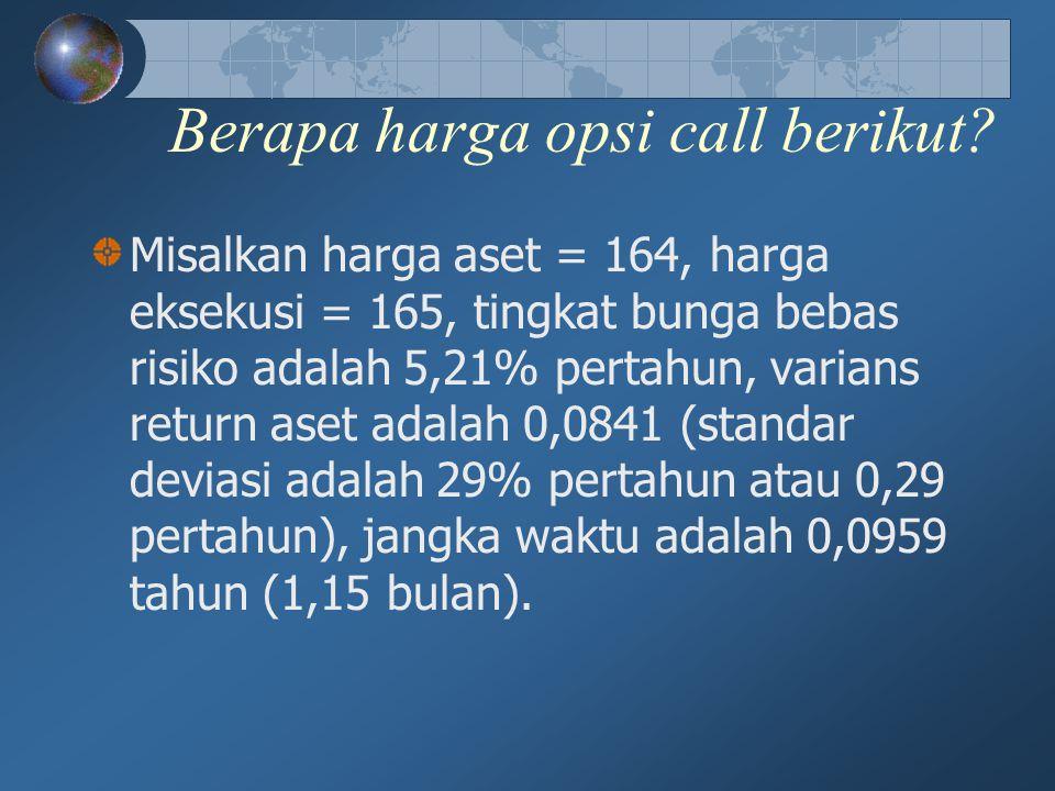 Berapa harga opsi call berikut? Misalkan harga aset = 164, harga eksekusi = 165, tingkat bunga bebas risiko adalah 5,21% pertahun, varians return aset