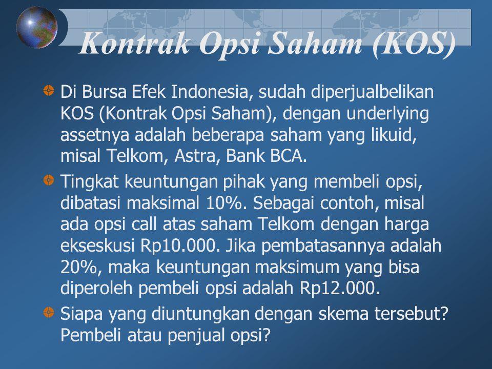 Kontrak Opsi Saham (KOS) Di Bursa Efek Indonesia, sudah diperjualbelikan KOS (Kontrak Opsi Saham), dengan underlying assetnya adalah beberapa saham ya