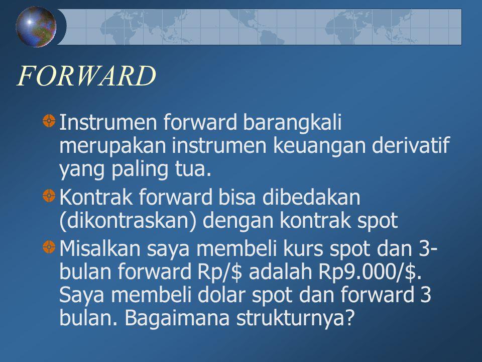 FORWARD Instrumen forward barangkali merupakan instrumen keuangan derivatif yang paling tua. Kontrak forward bisa dibedakan (dikontraskan) dengan kont