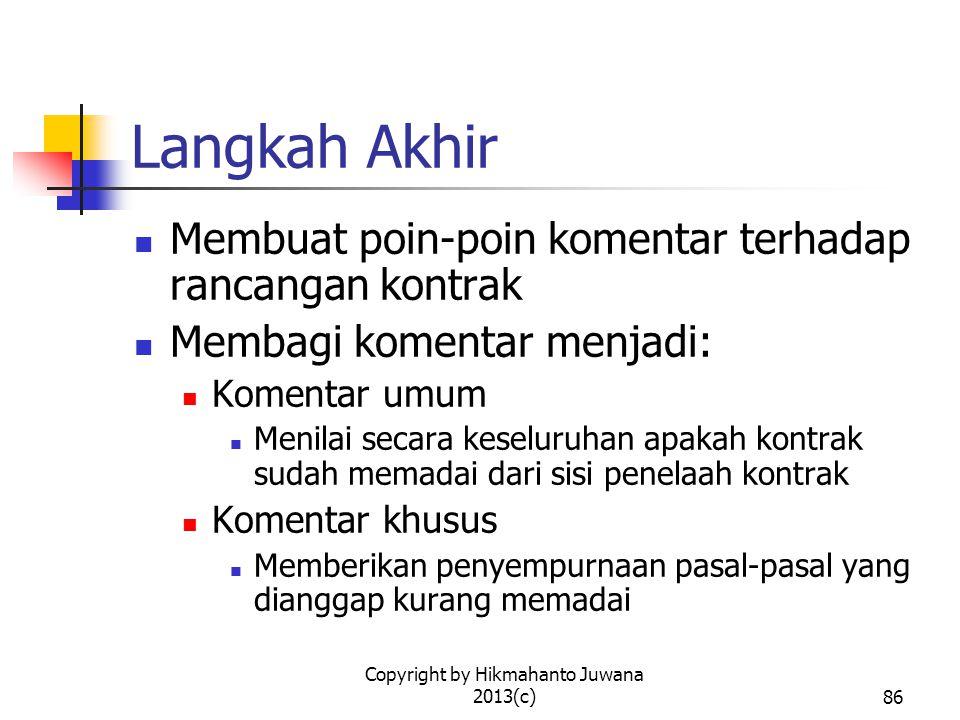 Copyright by Hikmahanto Juwana 2013(c)87 V. NEGOSIASI KONTRAK