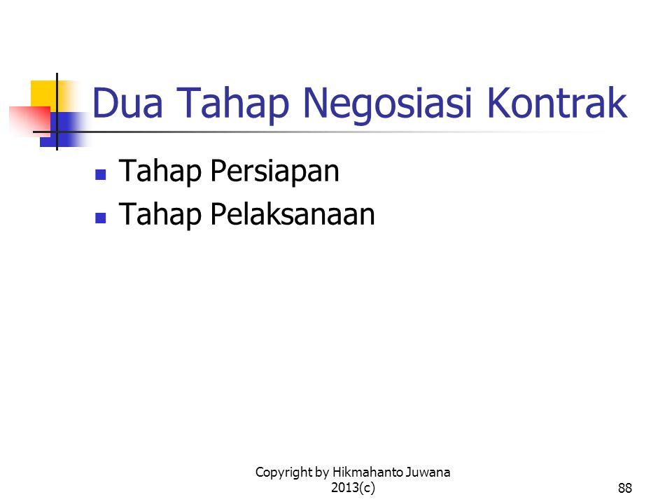 Copyright by Hikmahanto Juwana 2013(c)89 Tahap Persiapan (1) Menguasai rancangan kontrak secara komprehensif dan rinci Menguasai tentang industri dari kontrak Menguasai peraturan perundang- undangan yang melingkupi kontrak Memahami betul apa yang diinginkan oleh pihak yang diwakili dan posisinya