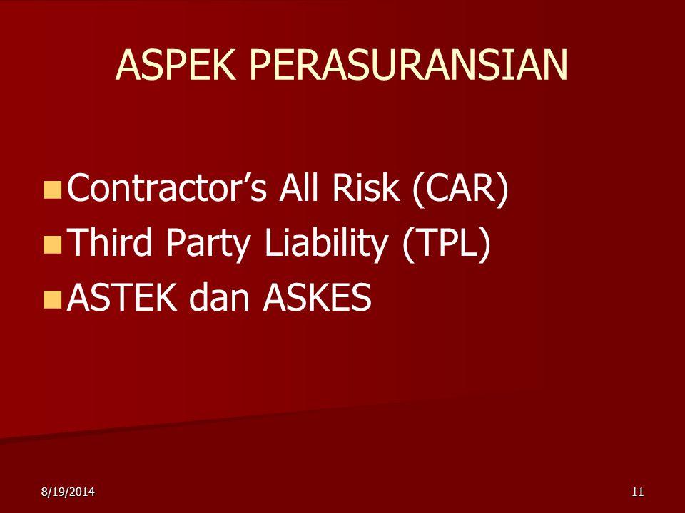 8/19/201411 ASPEK PERASURANSIAN Contractor's All Risk (CAR) Third Party Liability (TPL) ASTEK dan ASKES