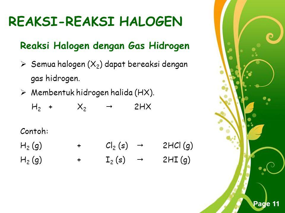 Free Powerpoint Templates Page 11 REAKSI-REAKSI HALOGEN Reaksi Halogen dengan Gas Hidrogen  Semua halogen (X 2 ) dapat bereaksi dengan gas hidrogen.