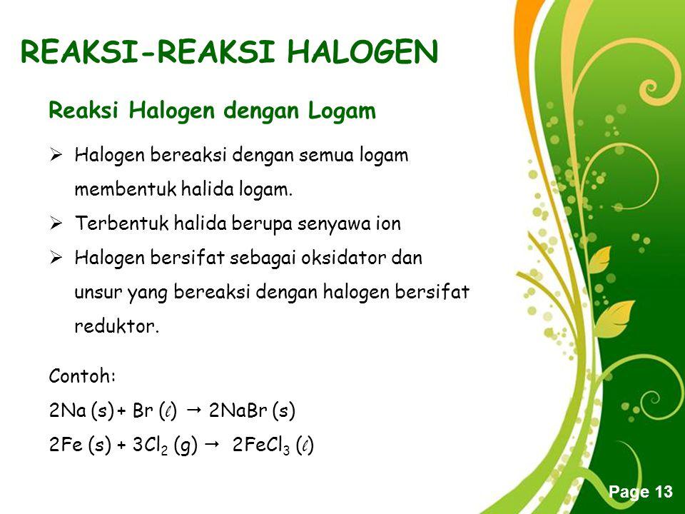 Free Powerpoint Templates Page 13 REAKSI-REAKSI HALOGEN Reaksi Halogen dengan Logam  Halogen bereaksi dengan semua logam membentuk halida logam.  Te