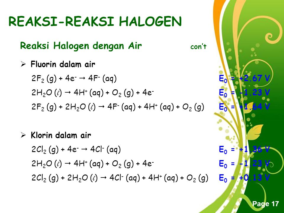 Free Powerpoint Templates Page 17 REAKSI-REAKSI HALOGEN Reaksi Halogen dengan Air con't FFluorin dalam air 2F 2 (g) + 4e -  4F - (aq)E 0 = +2.67 V