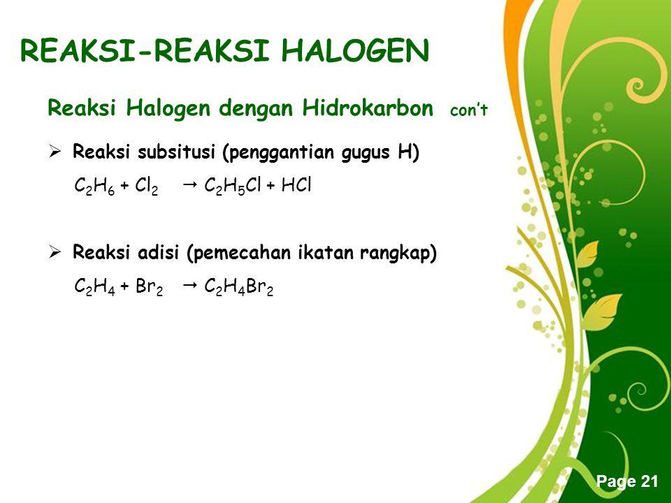 Free Powerpoint Templates Page 21 REAKSI-REAKSI HALOGEN Reaksi Halogen dengan Hidrokarbon con't RReaksi subsitusi (penggantian gugus H) C 2 H 6 + Cl