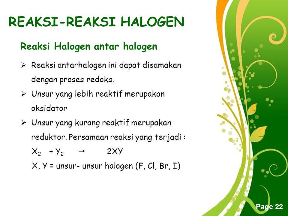 Free Powerpoint Templates Page 22 REAKSI-REAKSI HALOGEN Reaksi Halogen antar halogen  Reaksi antarhalogen ini dapat disamakan dengan proses redoks. 