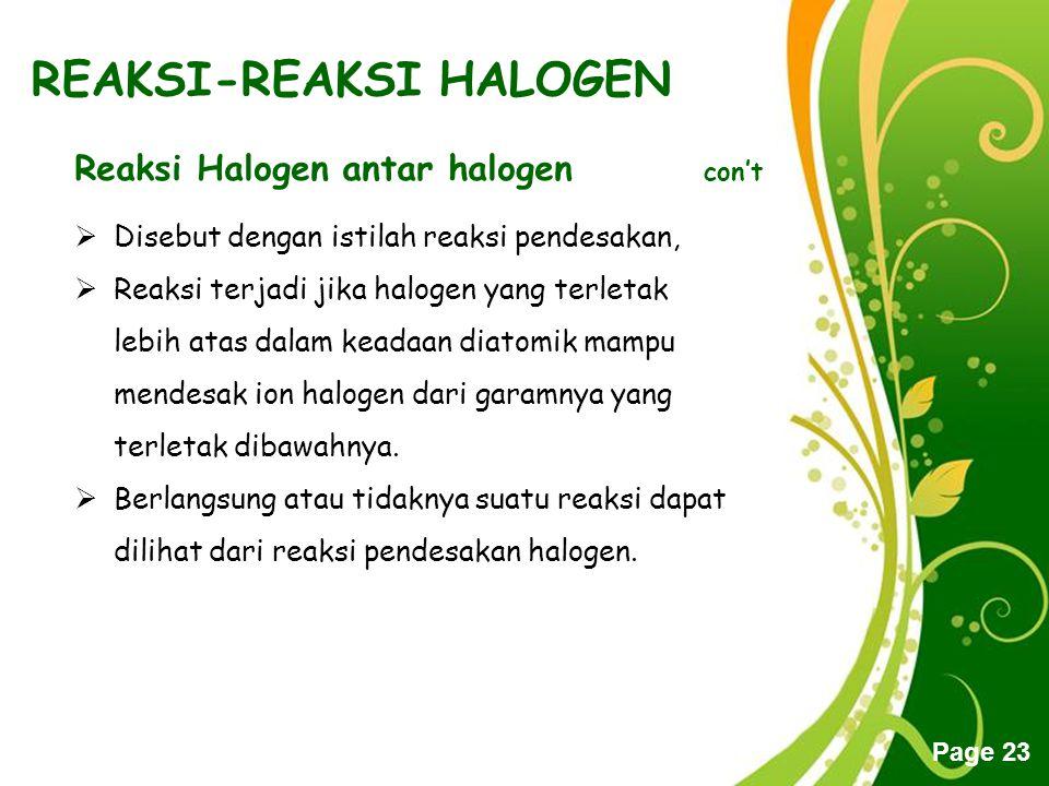 Free Powerpoint Templates Page 23 REAKSI-REAKSI HALOGEN Reaksi Halogen antar halogen con't  Disebut dengan istilah reaksi pendesakan,  Reaksi terjad