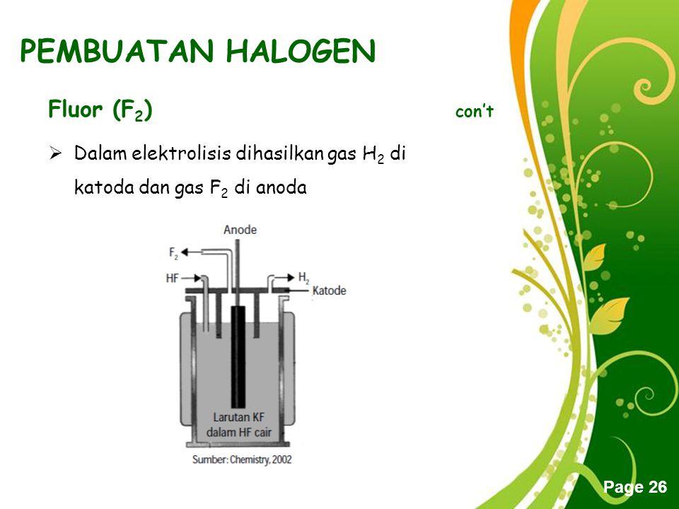 Free Powerpoint Templates Page 26 PEMBUATAN HALOGEN Fluor (F 2 ) con't  Dalam elektrolisis dihasilkan gas H2 H2 di katoda dan gas F2 F2 di anoda