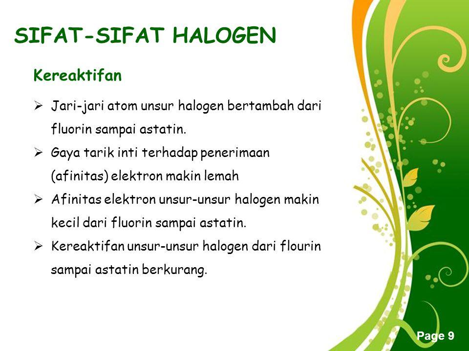 Free Powerpoint Templates Page 9 SIFAT-SIFAT HALOGEN Kereaktifan  Jari-jari atom unsur halogen bertambah dari fluorin sampai astatin.  Gaya tarik in