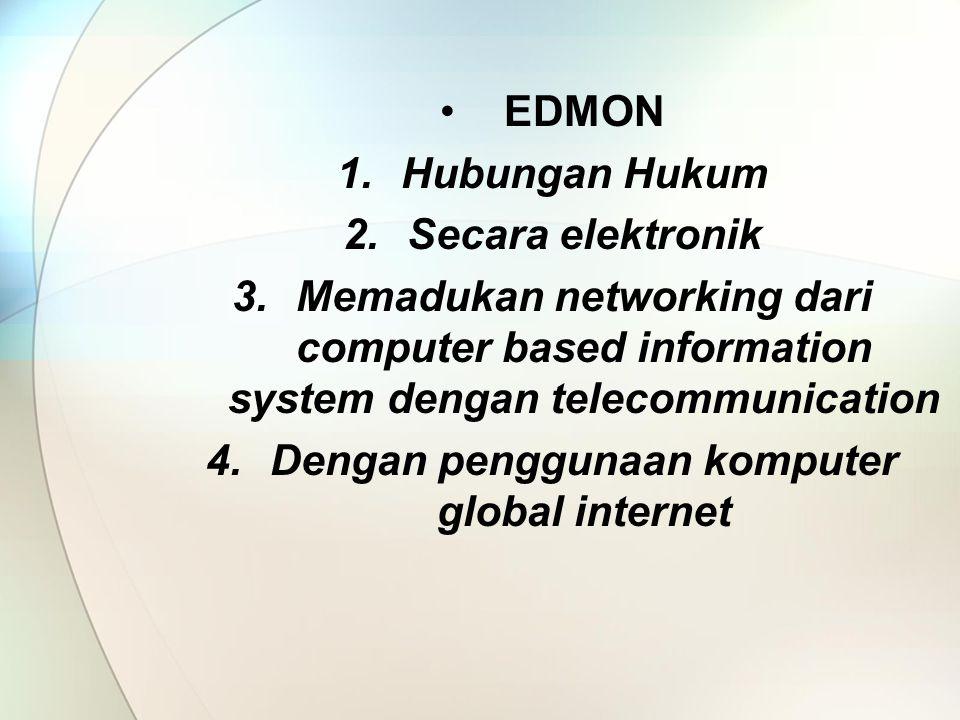 EDMON 1.Hubungan Hukum 2.Secara elektronik 3.Memadukan networking dari computer based information system dengan telecommunication 4.Dengan penggunaan komputer global internet
